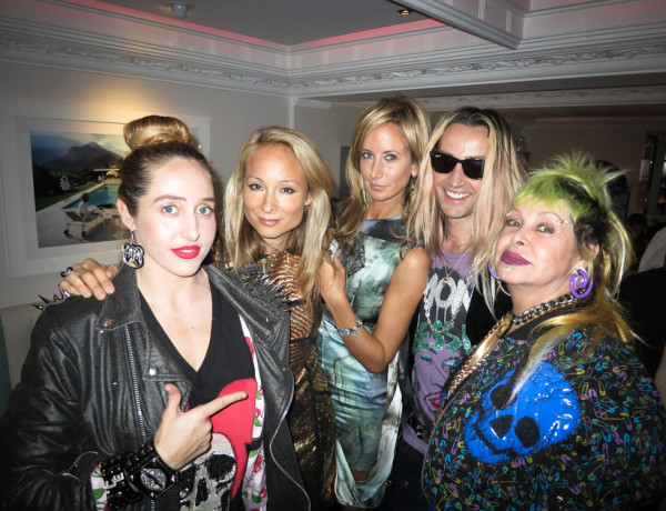 Indira Cesarine with Lady Victoria Hervey, Rocky Mazzilli, Tatum Mazzilli. The Untitled Magazine celebrates launch print edition in London, UK September 2012 during London Fashion Week.