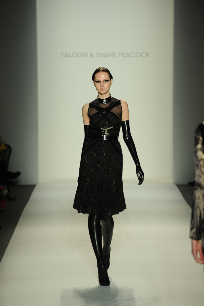 A model walks the runway at the Falguni And Shane Peacock Fall 2013 fashion show during Mercedes-Benz Fashion Week at The Studio at Lincoln Center on February 13, 2013 in New York City.