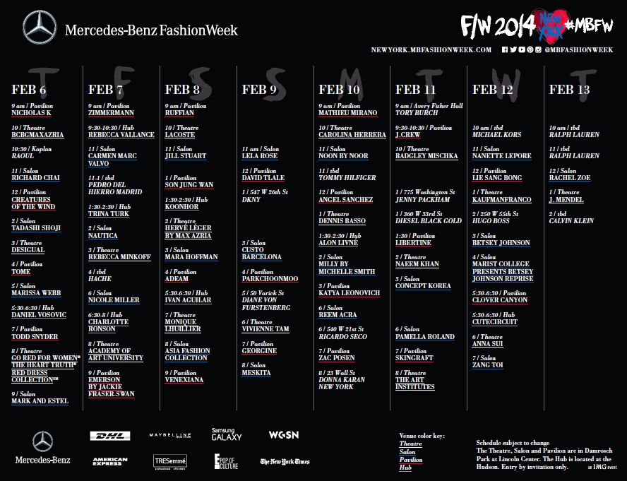 Mercedes benz fashion week fall 2014 preliminary schedule for Mercedes benz schedule a