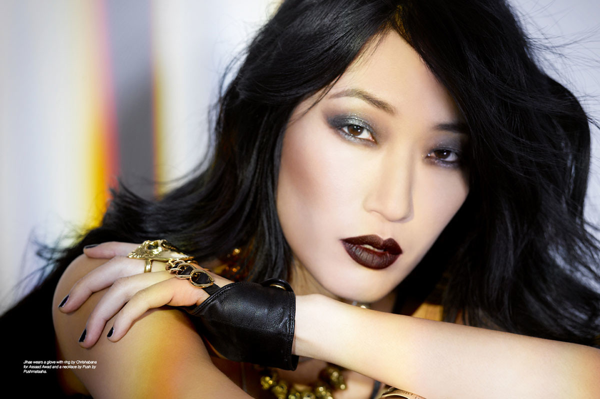 Jihae wears a glove with ring by Chrishabana for Assaad Awad and a necklace by Push by Pushmataaha.