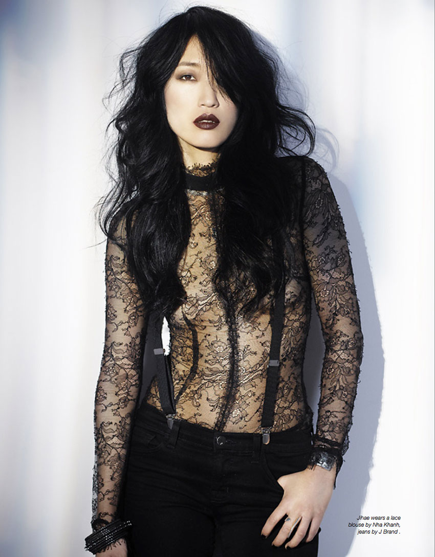 Jihae wears a lace blouse by Nha Khanh, jeans by J Brand .