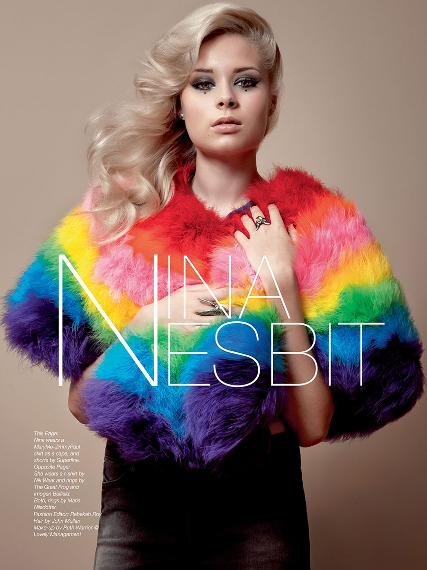 "Nina Nesbitt photographed for The Untitled Magazine ""Legendary"" Issue. Nina wears a MaryMe-JimmyPaul skirt as a cape, and shorts by Superfine."