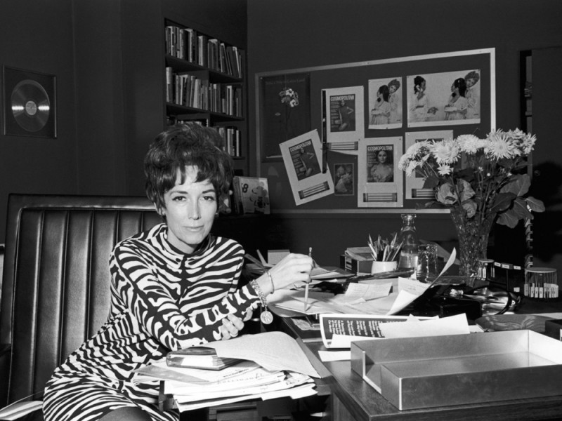 Circa 1965, American writer and magazine editor Helen Gurley Brown in her office at Cosmopolitan magazine, 1960s. (Photo by Santi Visalli/Getty Images)