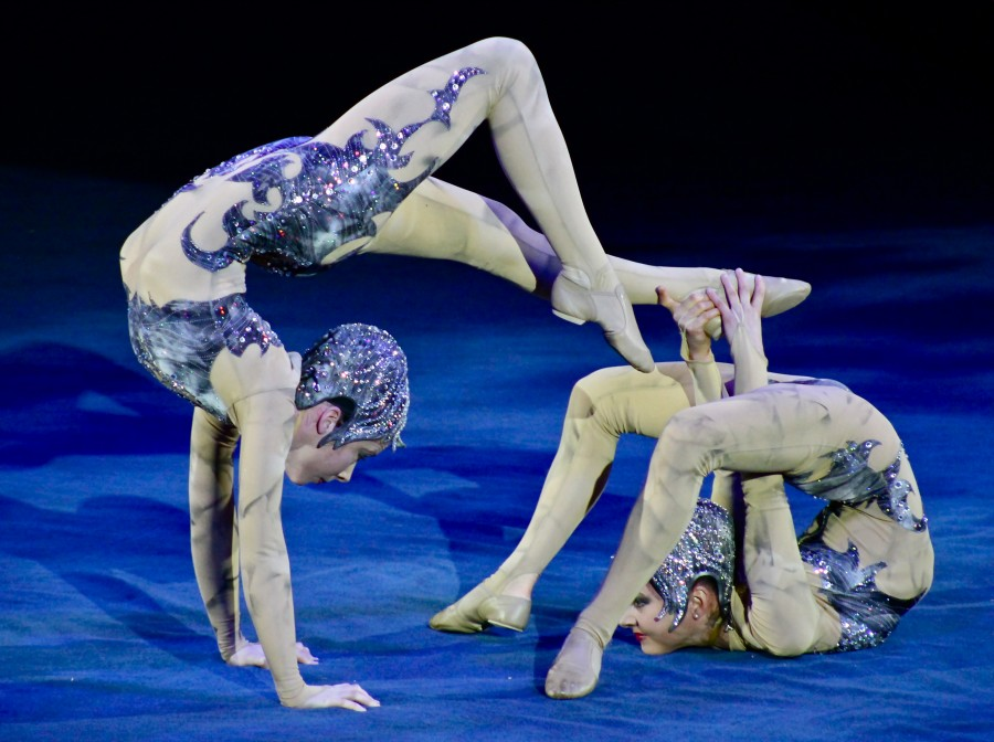 Sisters Anna Venizelos and Emily Venizelos doing Contortionist Act