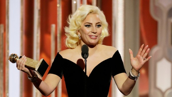 "73rd ANNUAL GOLDEN GLOBE AWARDS -- Pictured: Lady Gaga, ""American Horror Story: Hotel"", Winner, Best Actress - Limited Series or TV Movie at the 73rd Annual Golden Globe Awards held at the Beverly Hilton Hotel on January 10, 2016 -- (Photo by: Paul Drinkwater/NBC)"