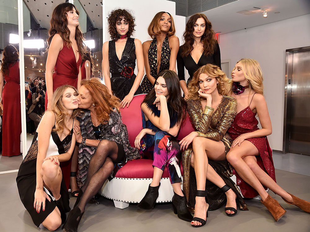 Diane von Furstenberg with her favorite models of the moment