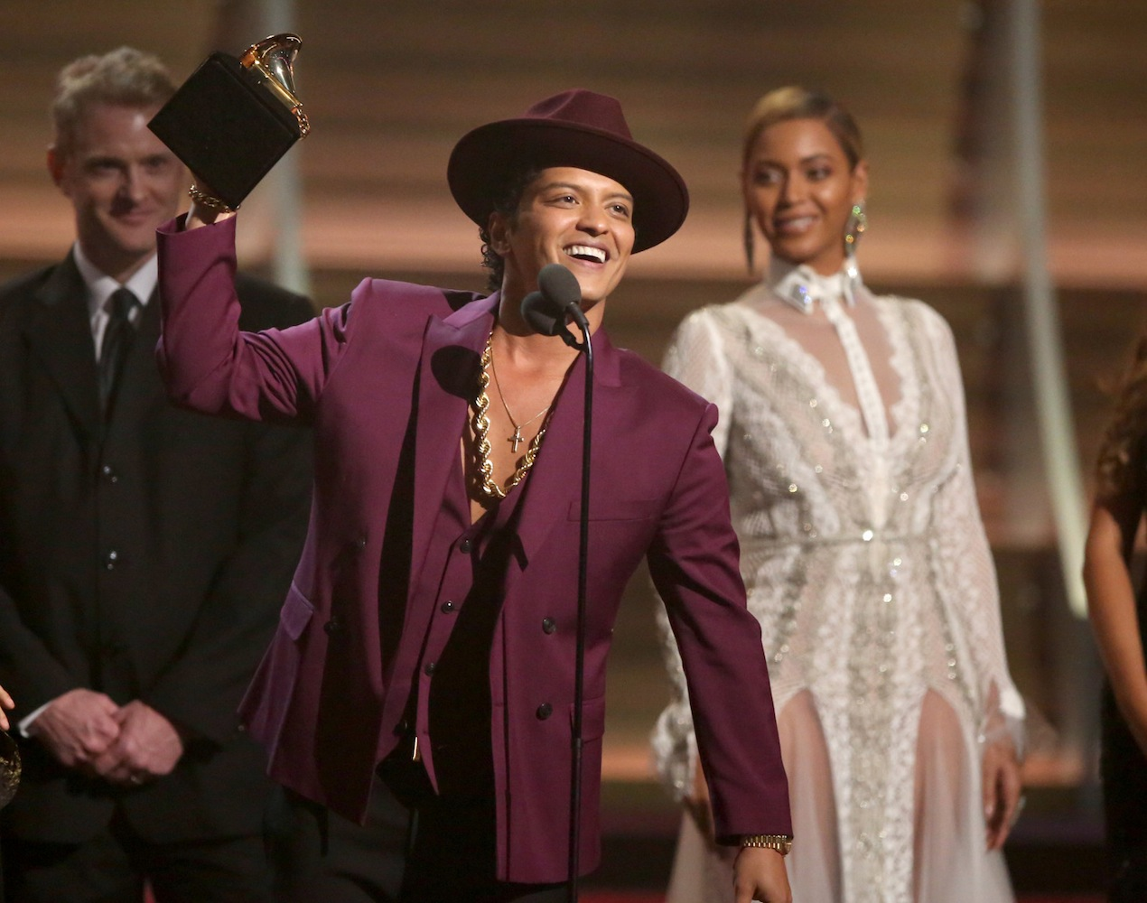 Bruno Mars accept the award for record of the year for Uptown Funk.
