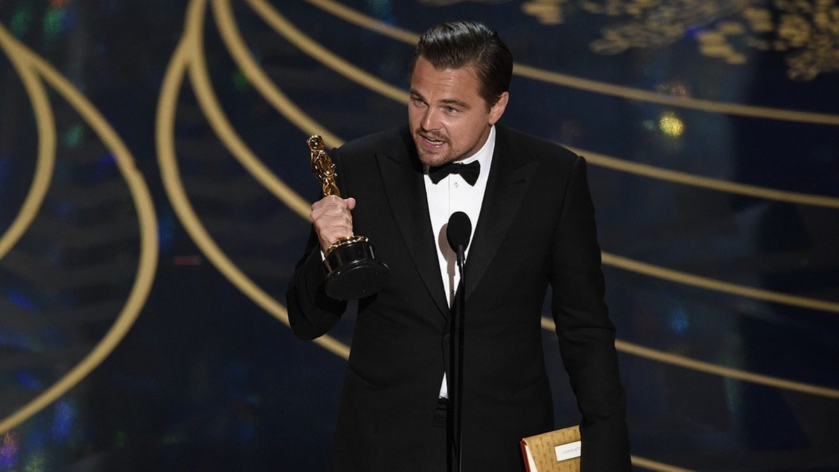 Leonardo DiCaprio accepts the Oscar for Best Actor