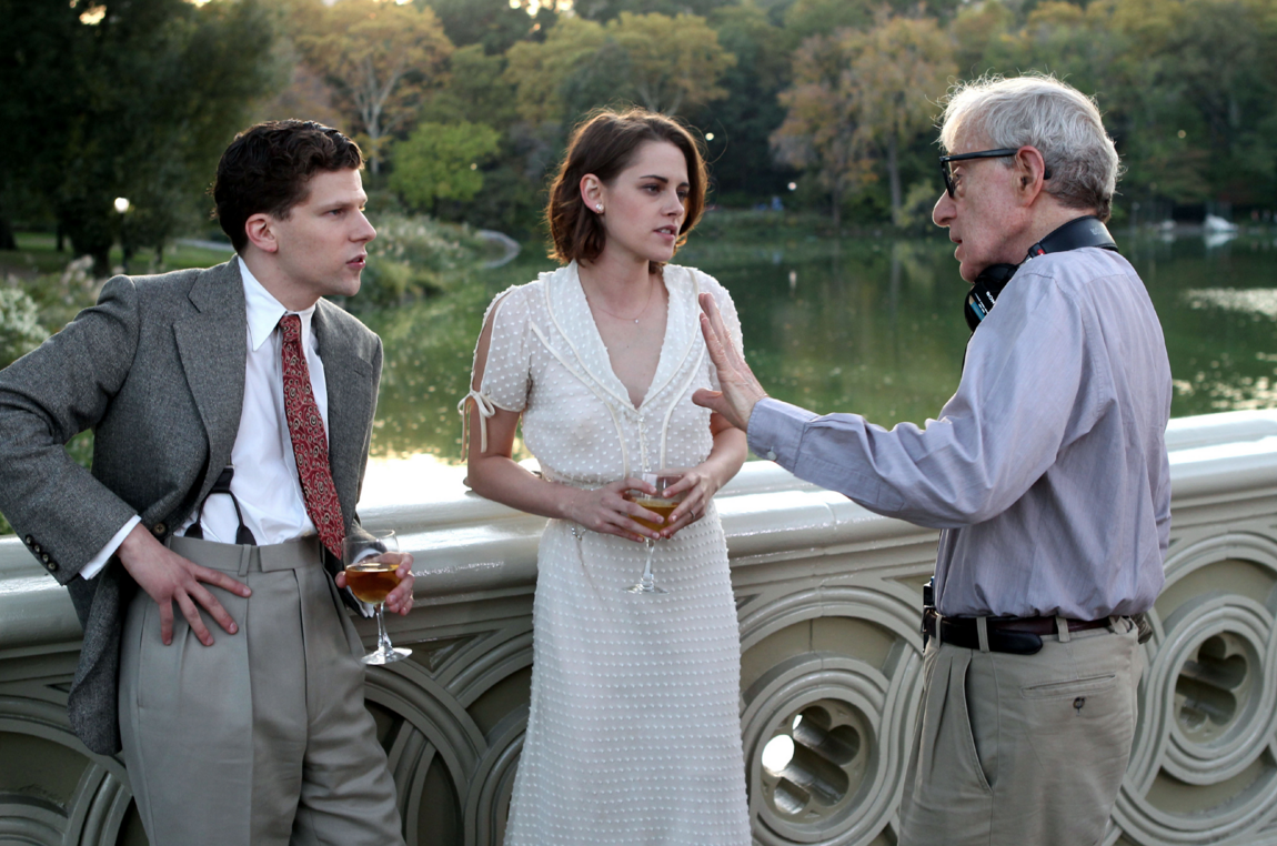 Kristen Stewart and Jesse Eisenberg alongside Woody Allen