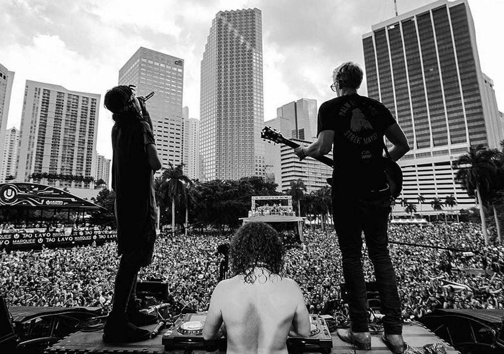Cody Simpson on stage with DVBBS in Miami