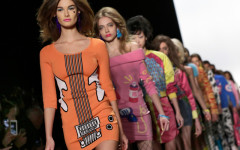 Models walk in the finale of the Jeremy Scott Fall 2016 collection during Fashion Week in New York,  Monday, Feb. 15, 2016. (AP Photo/Richard Drew)