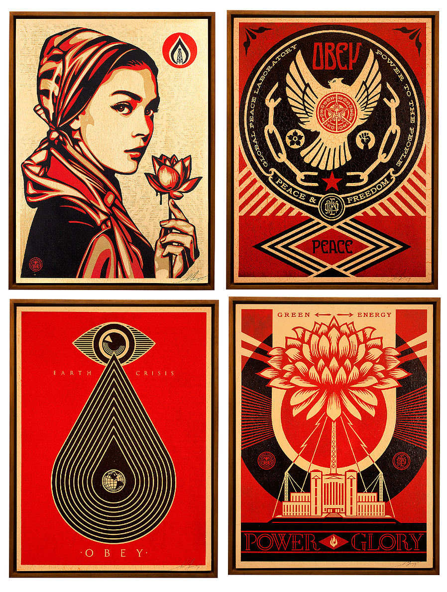 A selection of work that will be donated by Shepard Fairey