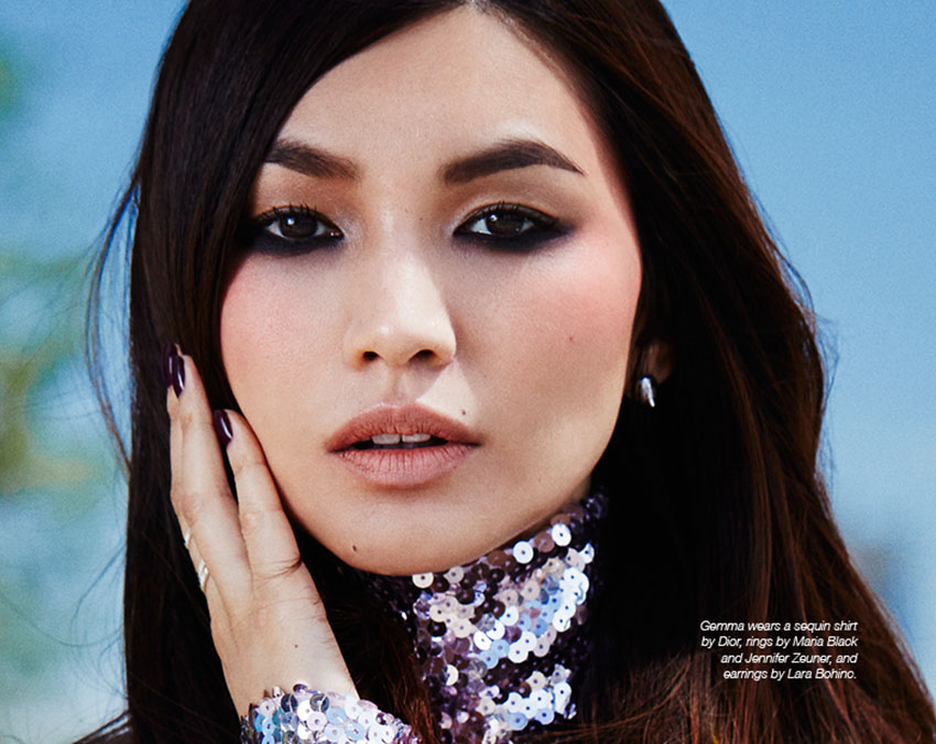 Gemma Chan photographed by Rachell Smith for The Untitled Magazine #GirlPower Issue. Gemma wears a sequin shirt by Dior, rings by Maria Black and Jennifer Zeuner, and earrings by Lara Bohinc.