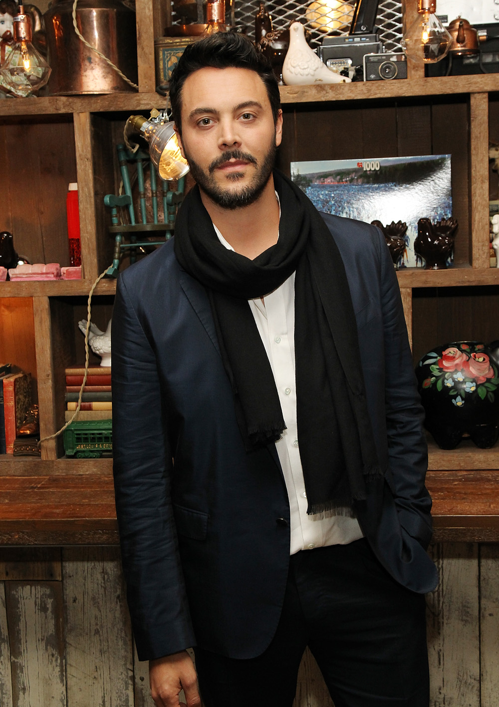 """NEW YORK, NY - APRIL 16: Actor Jack Huston poses for a picture during the At Large Magazine dinner in Honor of cover star Jack Huston at Elyx House on April 16, 2016 in New York City. (Photo by Bennett Raglin/Getty Images for Absolut Elyx)"""