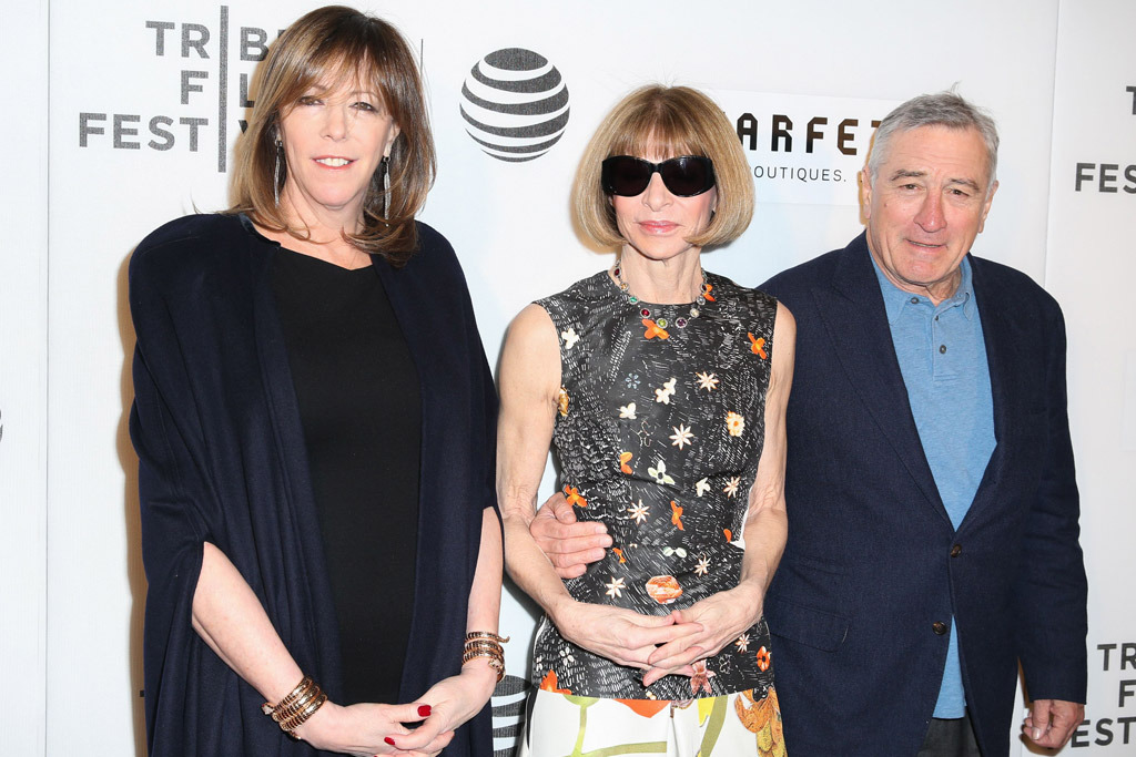 Jane Rosenthal, Anna Wintour, and Robert Deniro at the Tribeca premiere of 'The First Monday in May'