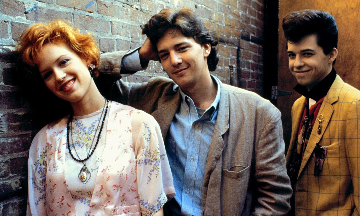 Andie (Molly Ringwald), Blane (Andrew McCarthy) and Duckie (Jon Cryer) in Pretty in Pink.