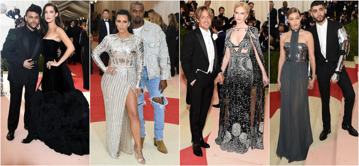 The Weeknd in Givenchy, Bella Hadid in Givenchy Haute Couture, Kim Kardashian West in Balmain, Kanye West in Fear of God, Keith Urban & Nicole Kidman in Alexander McQueen, Gigi Hadid in Tommy Hilfiger, and Zayn Malik in Versace