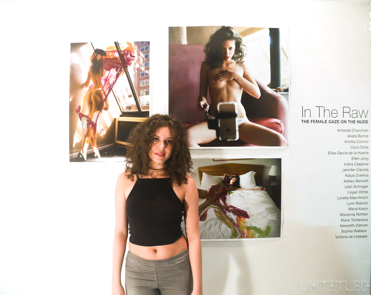 "Artist Leah Schrager at ""In The Raw: The Female Gaze on The Nude"" Exhibit Opening - The Untitled Space Gallery, New York. Photography by Dustin Wayne Harris"