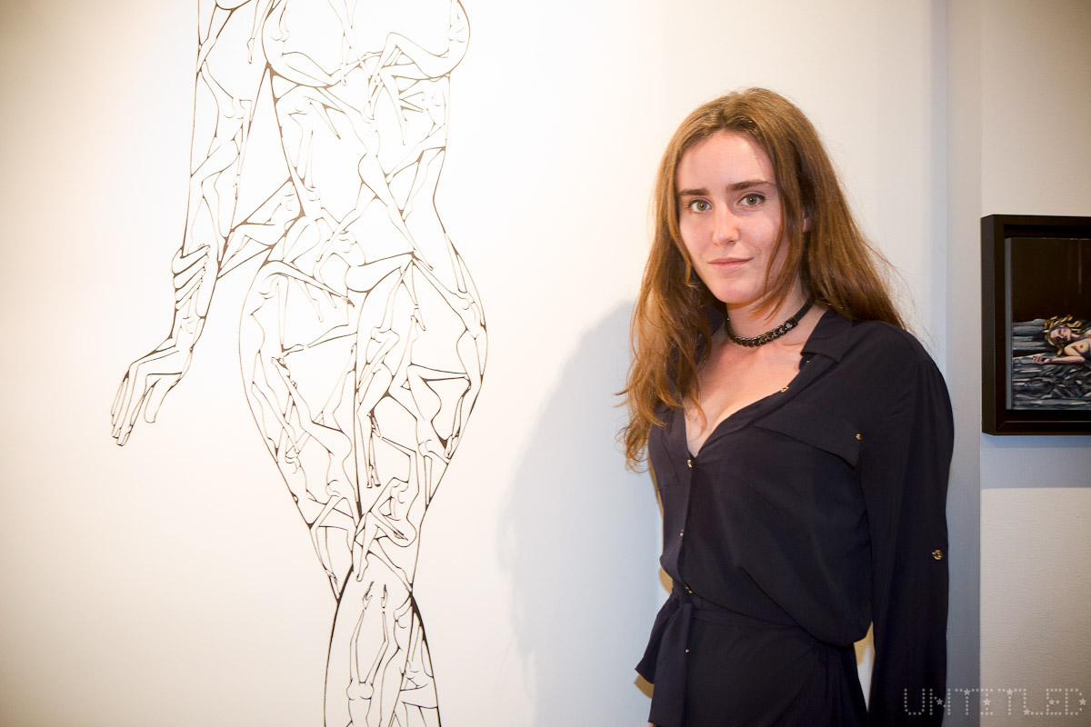 "Artist Victoria de Lesseps at ""In The Raw: The Female Gaze on The Nude"" Exhibit Opening - The Untitled Space Gallery, New York. Photography by Andreas Hofweber"