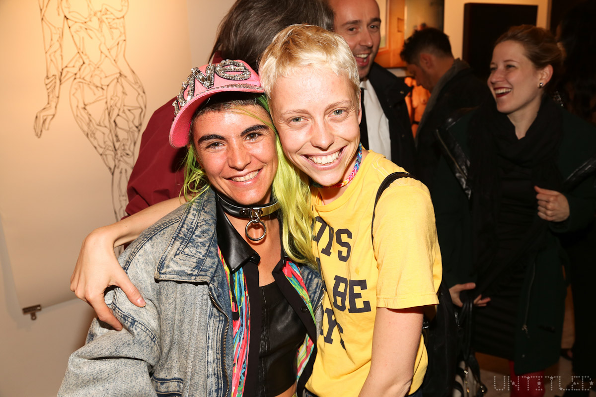 "Artists Elisa Garcia De La Huerta and Marie Tomanova at ""In The Raw: The Female Gaze on The Nude"" Exhibit Opening - The Untitled Space Gallery, New York. Photography by Dustin Wayne Harris"