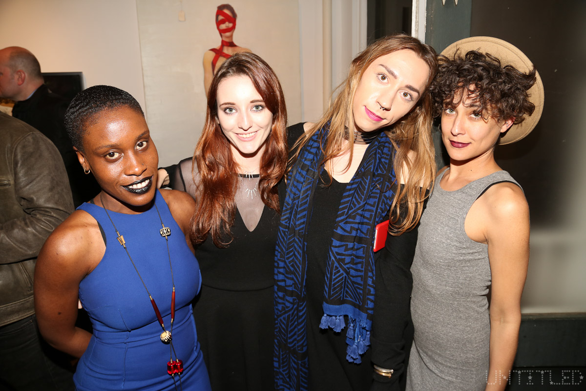 "Aya Marie Hewlett, Taylor Yow, Andy Ives and Danielle Hauser at ""In The Raw: The Female Gaze on The Nude"" Exhibit Opening - The Untitled Space Gallery, New York. Photography by Dustin Wayne Harris"