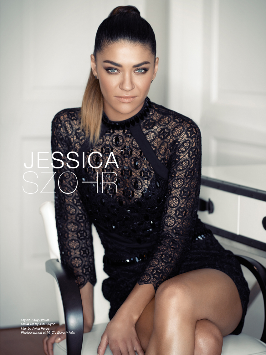 Jessica Szohr photographed by Indira Cesarine for The Untitled Magazine #GirlPower Issue. Jessica wears a black beaded dress by Sass & Bide, earring studs by Melinda Maria, and a ring by Iro Life.