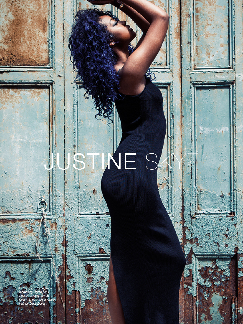 Justine Skye photographed by Anna Cole for The Untitled Magazine. Justine wears a dress by Pavon NYC.