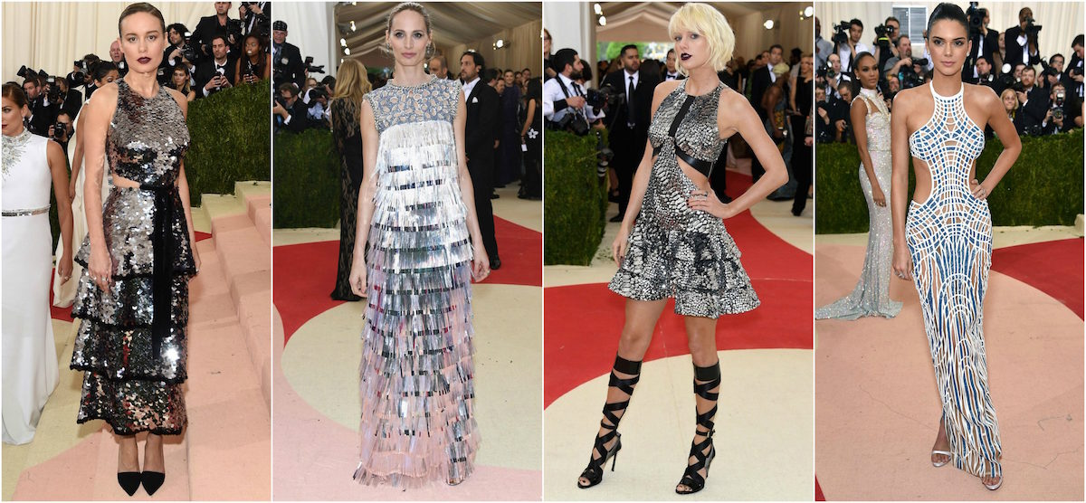 Brie Larson in Proenza Schouler, Lauren Santo Domingo in Giambattista Haute Couture, Taylor Swift in Louis Vuitton, and Kendall Jenner in Atelier Versace