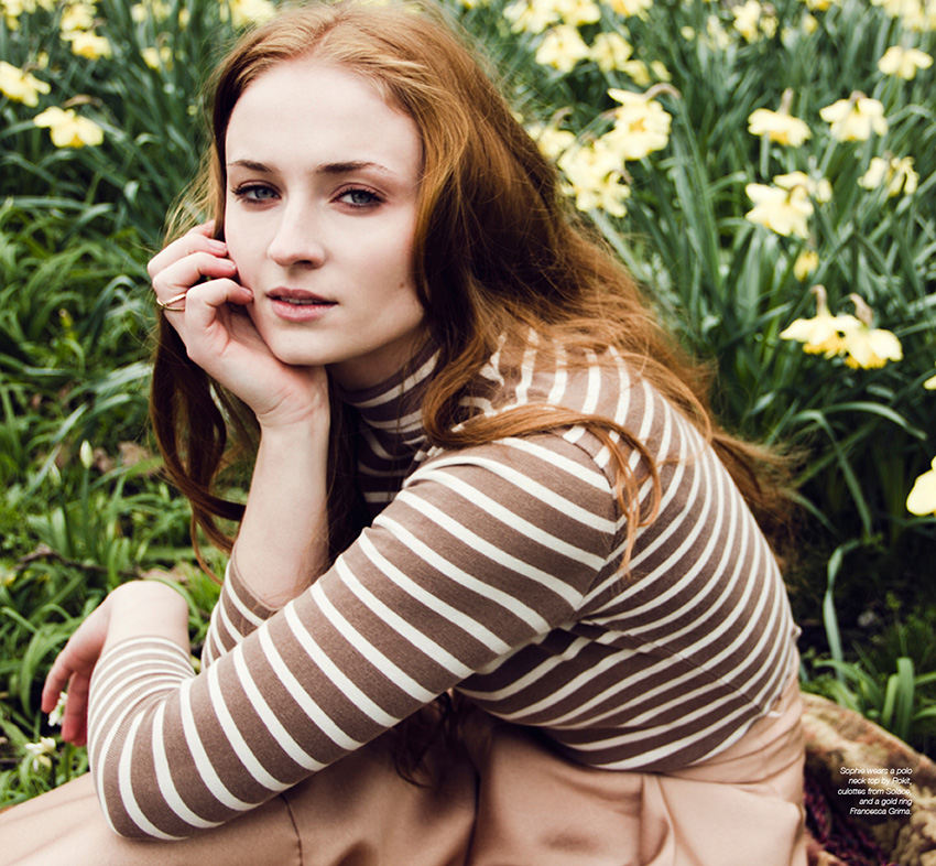 Sophie Turner photographed by Jessie Craig for The Untitled Magazine #GirlPower Issue. Sophie wears a polo neck top by Rokit, culottes from Solace, and a gold ring by Francesca Grima.