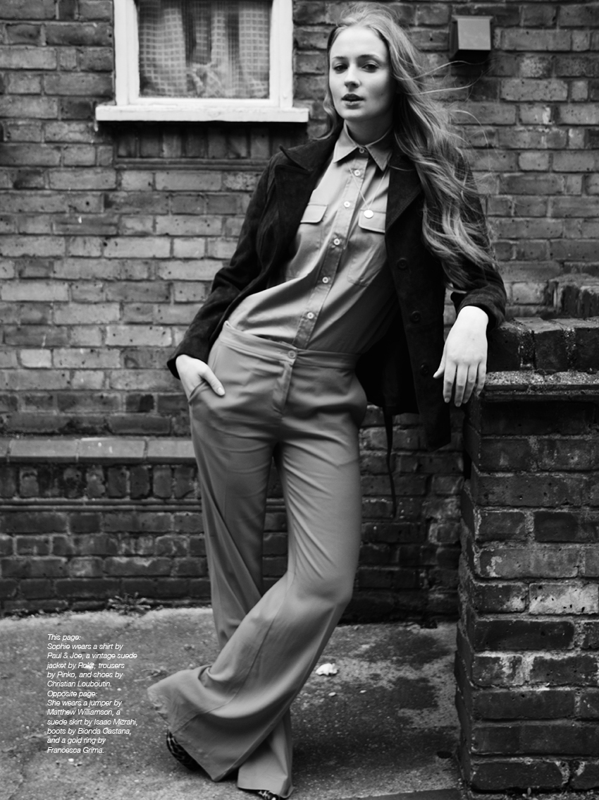 Sophie wears a shirt by Paul & Joe, a vintage suede jacket by Rokit, trousers by Pinko, and shoes by Christian Louboutin.