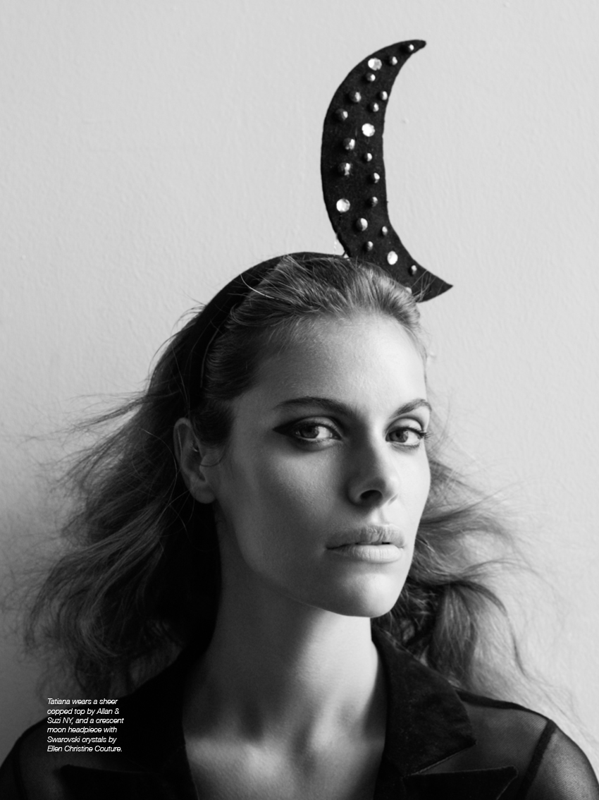 Tatiana wears a sheer copped top by Allan & Suzi NY, and a crescent moon headpiece with Swarovski crystals by Ellen Christine Couture.