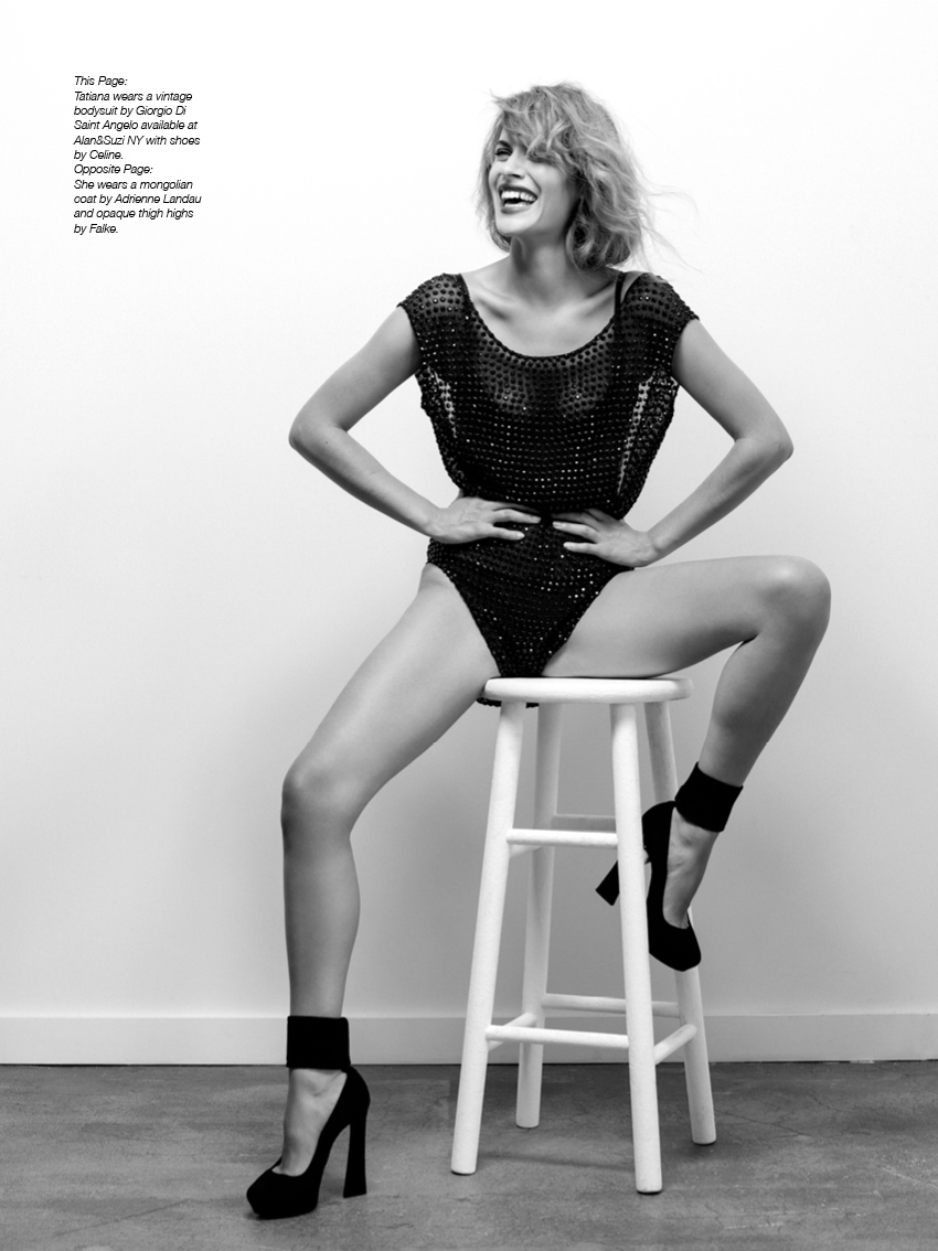 Tatiana wears a vintage bodysuit by Giorgio Di Saint Angelo available at Alan&Suzi NY with shoes by Celine.