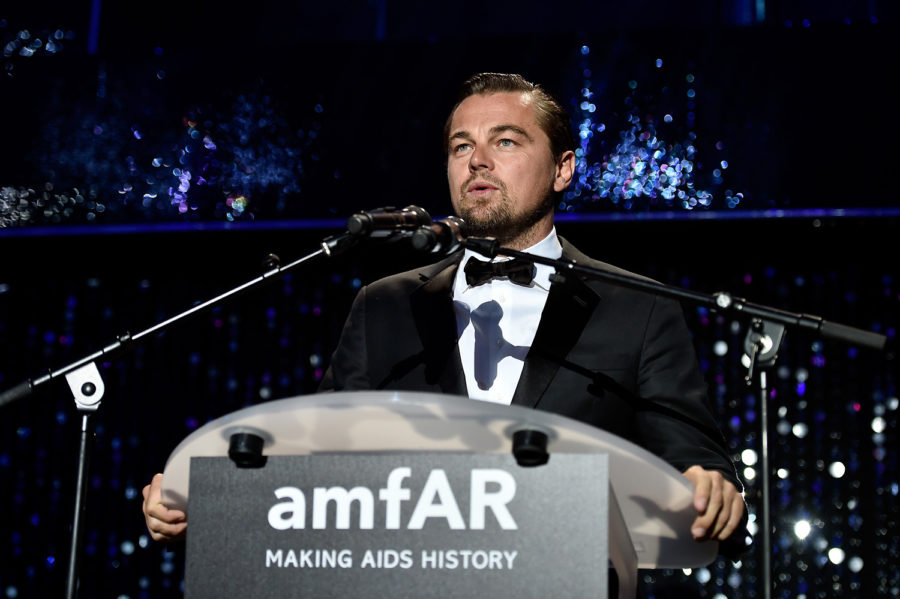CAP D'ANTIBES, FRANCE - MAY 19: Leonardo DiCaprio on the stage at the amfAR's 23rd Cinema Against AIDS Gala at Hotel du Cap-Eden-Roc on May 19, 2016 in Cap d'Antibes, France. (Photo by Pascal Le Segretain/amfAR16/WireImage) *** Local Caption *** Leonardo DiCaprio