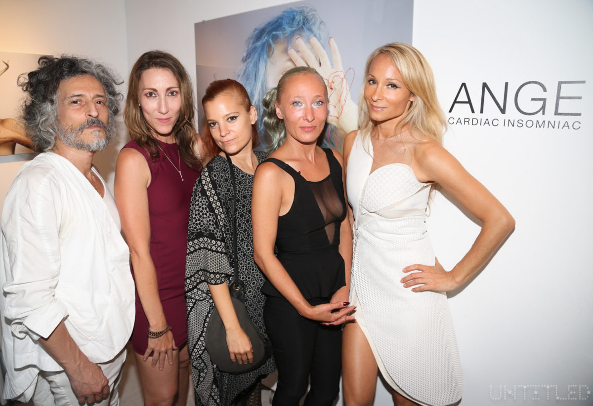 "Gabriel Asfour, Adi Gil, and Ange of threeASFOUR with curators Coco Dolle and Indira Cesarine at ""Cardiac Insomniac"" Artist Reception. A Solo Show of Works by ANGE aka Angela Donhauser - June 2016 - The Untitled Space gallery, New York. Photography by Dustin Wayne Harris."