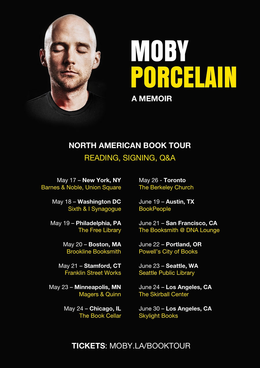 The last stop on Moby's book tour will be in Los Angeles.