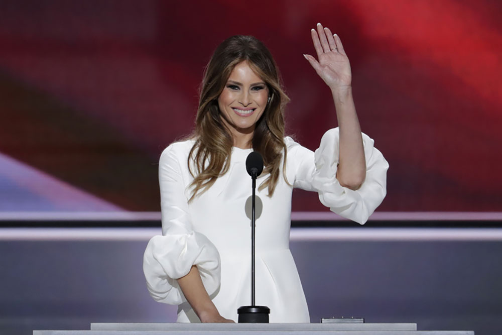 Melania Trump waves to the crowd at the Republican National Convention on July 18th, 2016.