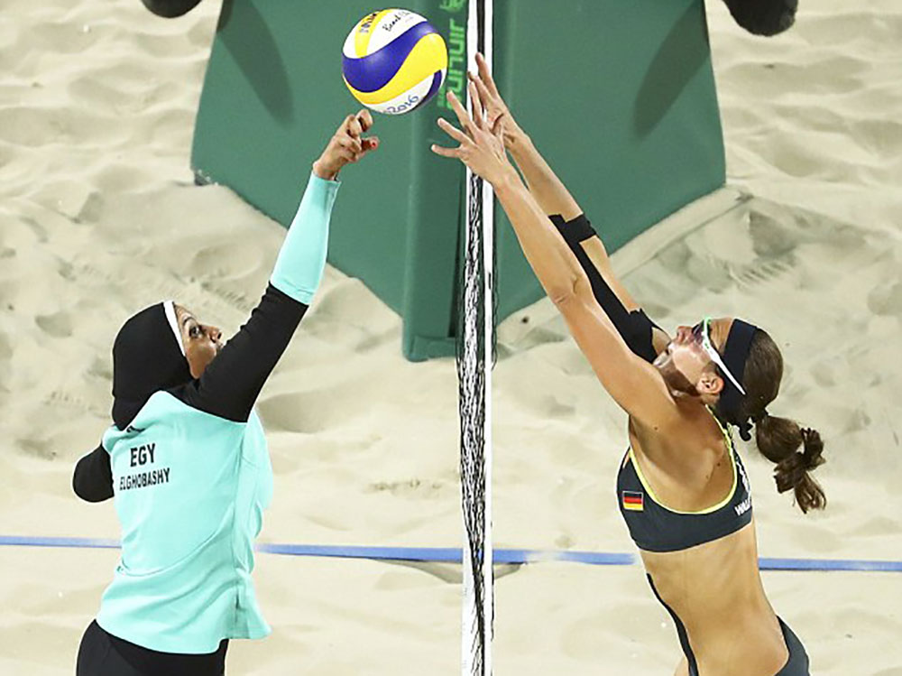 The women's volleyball match between Egypt and Germany. Image courtesy of Reuters.