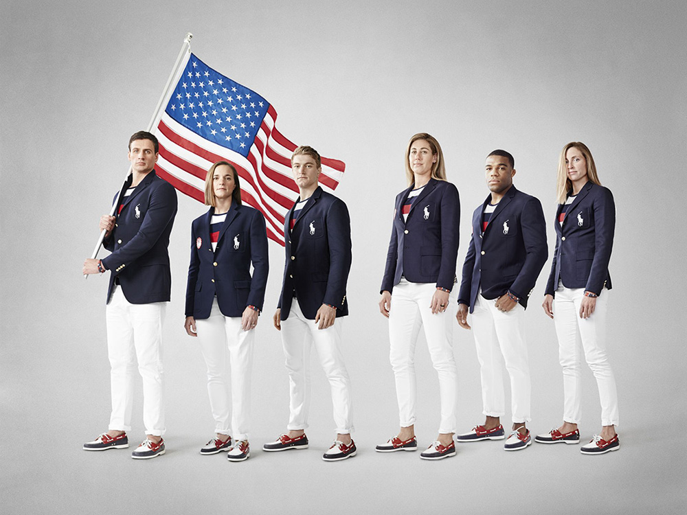 Team USA in the Olympic Opening Ceremony uniforms designed Polo Ralph Lauren // Courtesy of Ralph Lauren and USA Today