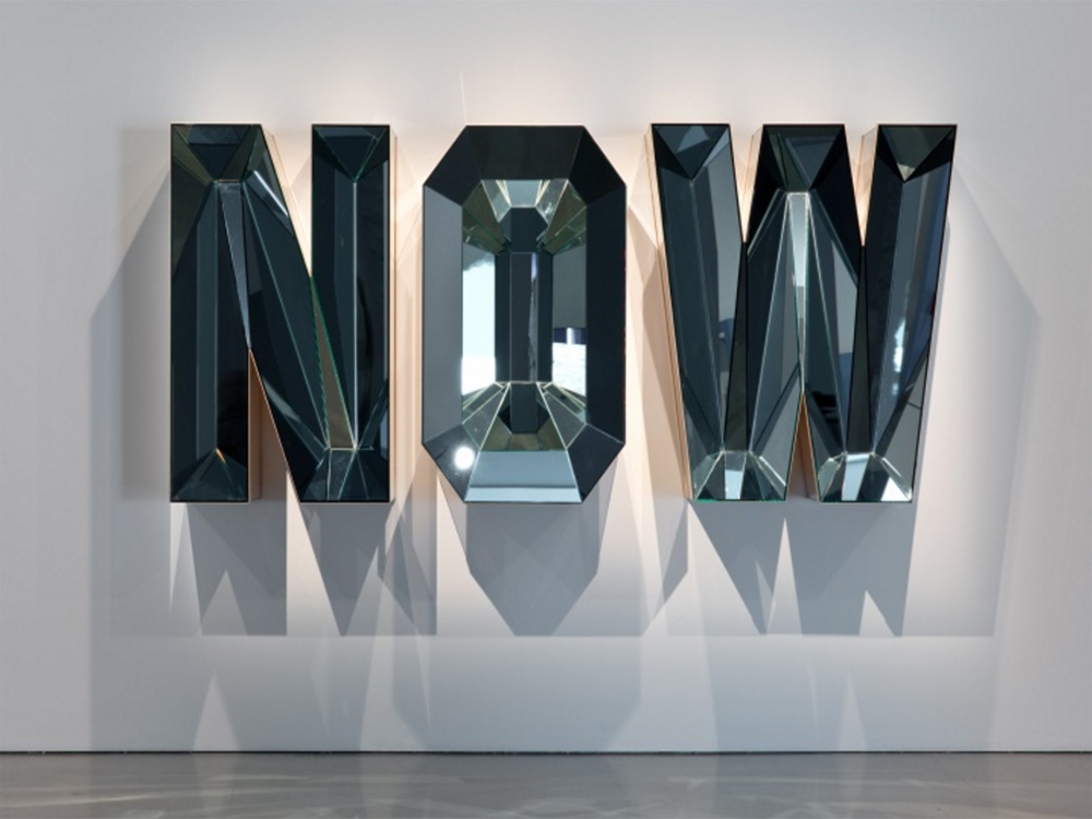 "Doug Aitken, ""NOW"" (Blue Mirror), 2014, wood, mirror, glass, (122.6 × 275.6 × 45.7 cm)"