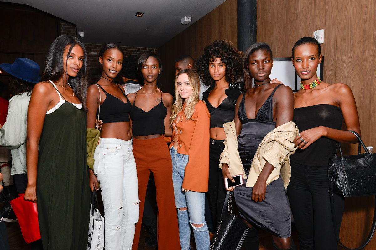 NEW YORK, NY - SEPTEMBER 13:  Grace Mahary, Riley Montana, Olivia Perez, Imaan Hammam, and Fatima Siadattends Interview & Topshop Celebrate the Interview September Issue on September 13, 2016 in New York City.  (Photo by Presley Ann/Patrick McMullan via Getty Images)