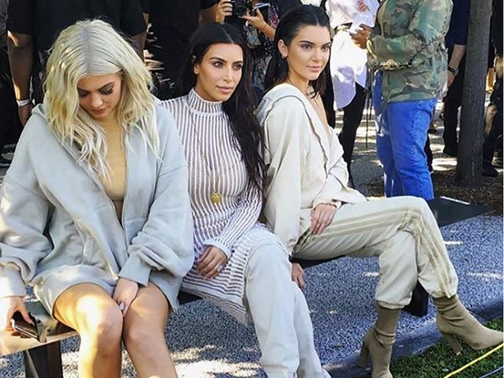 Kim, Kylie, and Kendall at the Yeezy Season 4 presentation.