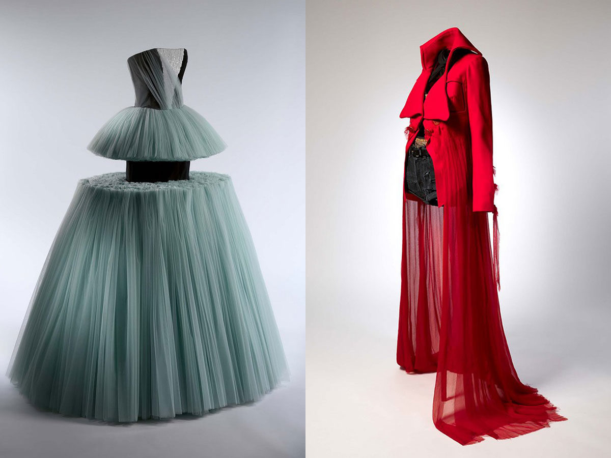 Left: Ball Gown, Viktor & Rolf (Dutch, founded 1993), spring/summer 2010: The Metropolitan Museum of Art, Purchase, Friends of The Costume Institute Gifts, 2011. Right: Ensemble, John Galliano (British, born Gibraltar, 1960) for Maison Margiela (French, founded 1988), spring/summer 2015; The Metropolitan Museum of Art, Purchase, Friends of the Costume Institute Gifts, 2015.