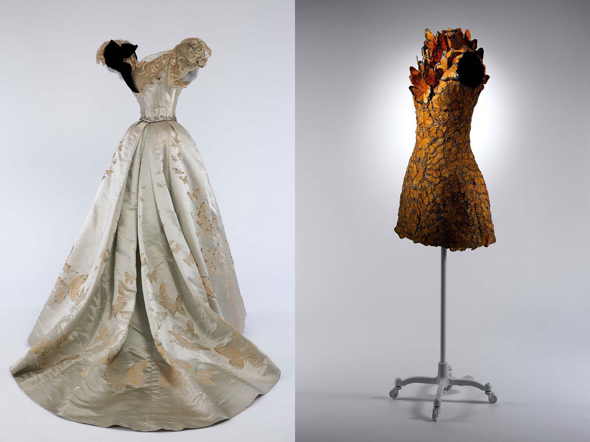 Left: Dress, Sarah Burton (British, born 1974) for Alexander McQueen (British, founded 1992), spring/summer 2011; The Metropolitan Museum of Art, Purchase, Friends of The Costume Institute Gifts, 2014. Right: Ball Gown, Jean-Philippe Worth (French, 1856-1926) for House of Worth (French, 1858-1956), 1898; Brooklyn Museum Costume Collection at The Metropolitan Museum of Art, Gift of the Brooklyn Museum, 2009; Gift of Mrs. Paul Pennoyer, 1965.