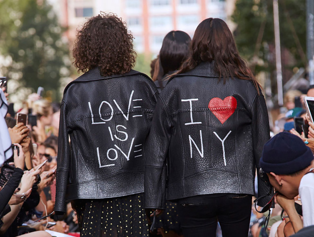 Custom jackets at the Rebecca Minkoff show. Image courtesy of the brand.