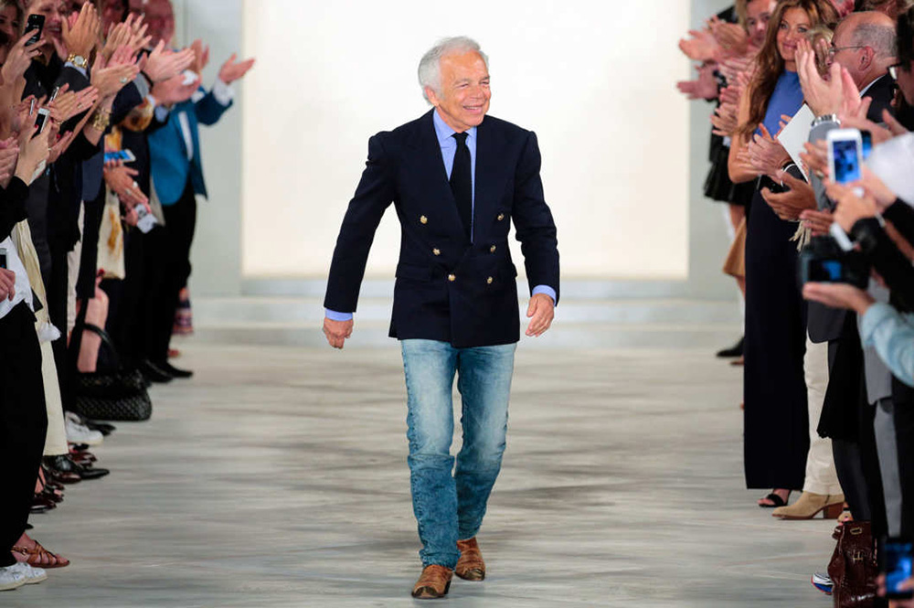 Ralph Lauren walking at the end of one of his shows. Image by Randy Brooke, courtesy of Wire Image.