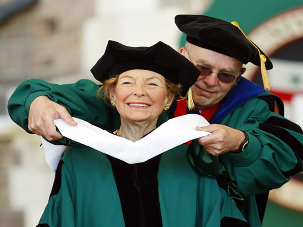 Schlafly's receiving of an honorary degree from the University of Washington St. Louis caused protests. Photographed by Bill Greenblatt/UPI Photo.
