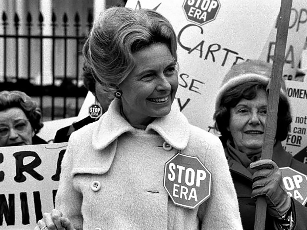 Schlafly at a protest against the Equal Rights Amendment. Courtesy of the Library of Congress.