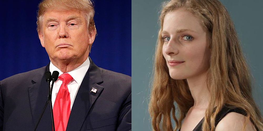 Left: Donald Trump. Right: Rachel Blais, a former Trump model who has spoken out on his agency's illegal hiring practices.