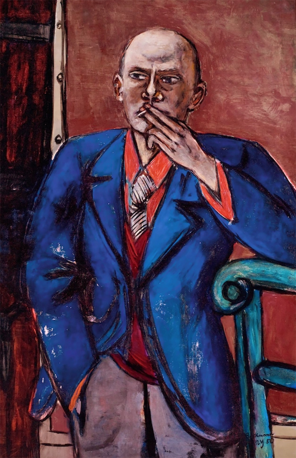 Image: Max Beckmann (German, Leipzig 1884–1950 New York). Self-Portrait in Blue Jacket, 1950. Oil on canvas. Saint Louis Art Museum, Bequest of Morton D. May. SL.9.2016.24.1, © 2016 Artists Rights Society (ARS), New York / VG Bild-Kunst, Bonn. Courtesy of The Metropolitan Museum of Art.