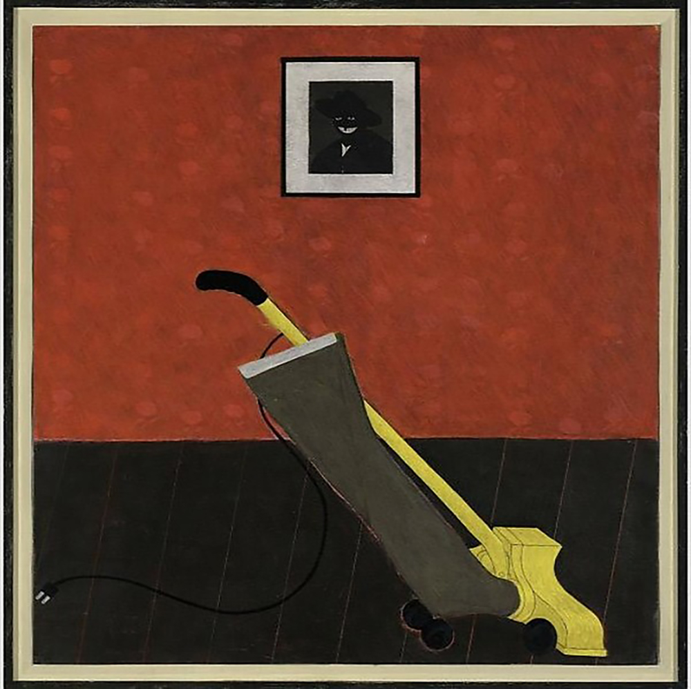 Portrait of the Artist & a Vacuum Artist:Kerry James Marshall (American, born Birmingham, Alabama 1955) Date:1981 Medium:Acrylic on paper Dimensions:62 1/2 × 52 1/2 in. (158.8 × 133.4 cm) Classification:Paintings Credit Line:Nasher Museum of Art at Duke Univeristy Museum purchase with additional funds provided by Nailya Alexander; Maya and Anatol Bekkerman; Jeff Bliumis; Henry and Ludmila Elinson; Dr. Robert E. Falcone; Mr. and Mrs. Robert L. Fromer; Alexandre Gertsman; Marilyn J. Holmes (T'72); INTART - International Foundation of Russian & Eastern-European Art, Inc.; Vladimir Kanevsky; Virginia Kinzey; JacquesLeviant; Innessa Levkova-Lamm; Dr. Boris Lipovsky; Mina E. Litinsky; Fran and Robert Malina; Teresa and Joseph Masarich; Marjorie Pfeffer; Anthony T. Podesta; Maya and Michael Polsky; Estate of Alek Rapoport; Vladimir Rapoport; Mrs. W.A.Y. Sargent in memory of Dr. Winston